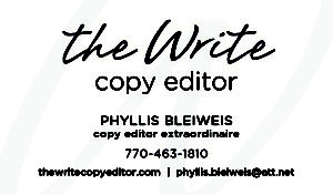 The Write Copy Editor Business Card